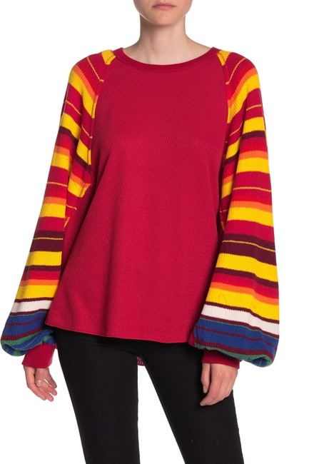 Item - Rainbow Dreams Batwing Sleeve Red Combo Sweater