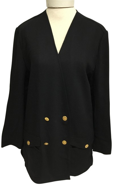 Item - Black Unconstructed Jacket with Gold Buttons Blazer Size 10 (M)