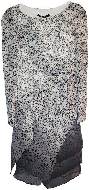 Item - White Gray Leopard Print Silk Mid-length Cocktail Dress Size 4 (S)