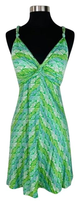 Item - Green Blue Printed Sundress Ties In Back Short Casual Dress Size 0 (XS)