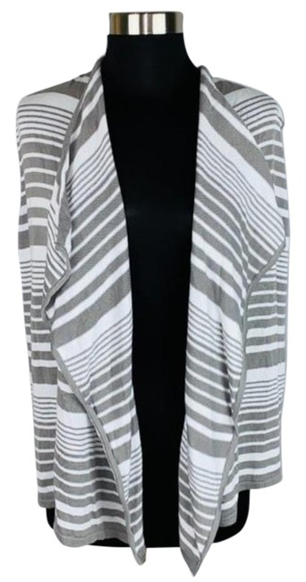 Item - Gray White Sleeveless Striped Open Front Cardigan Size 8 (M)