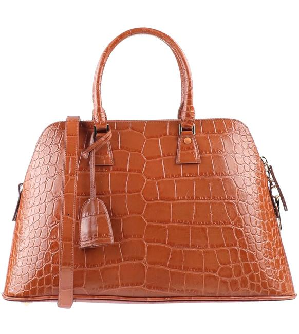 Item - Large 5ac Embossed Croc Brown Camel Calfskin Leather Tote