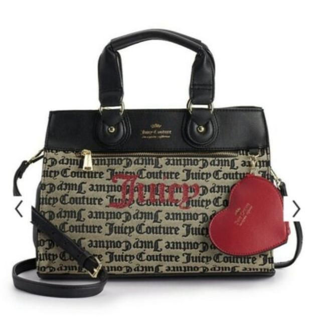 Item - Gothic Pop Out Heart Beige Black Fabric Faux Leather Satchel