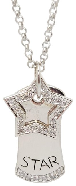 """Item - Silver White New Looking Star Dog Tag & Diamond Simulant Star 16"""" Necklace"""