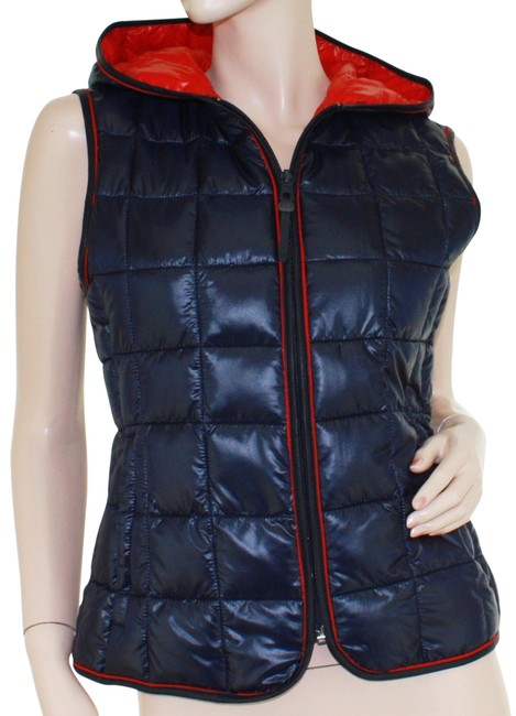 Item - Navy Blue / Red XS Top - Sidder Quilted Hooded Vest Size 2 (XS)