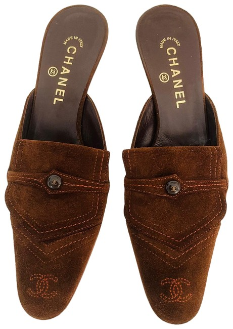 Item - Chocolate Brown with Orange Stitching Vintage Mules/Slides Size US 10 Regular (M, B)