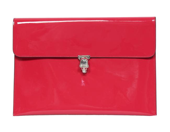 Item - New Skull Pink Patent Leather Clutch