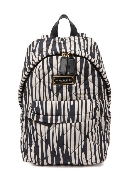 Item - Quilted Printed Ivory/Black Nylon Backpack