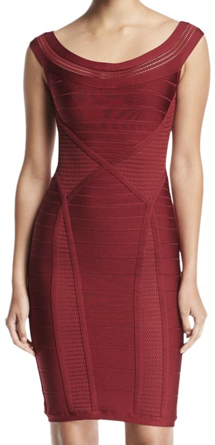 Item - Red Kate Dark Maroon Stretch Bandage Bodycon Mid-length Cocktail Dress Size 12 (L)