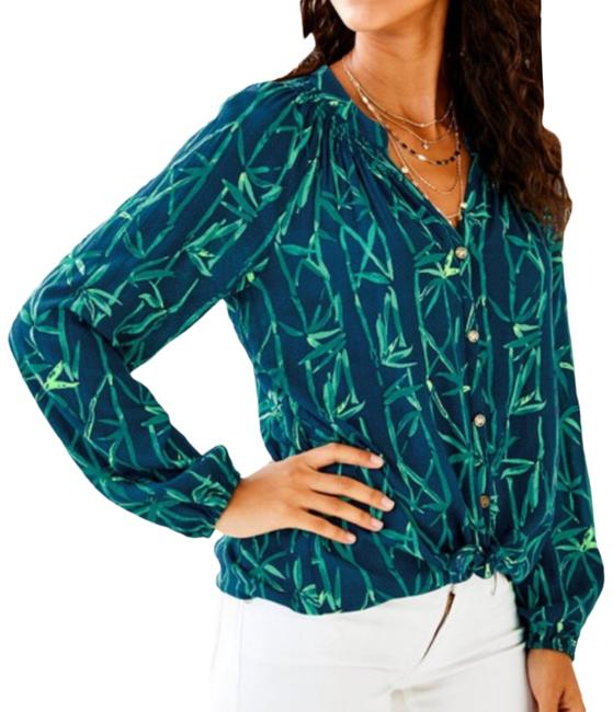 Item - Navy Blue & Green Essie Bamboo Button Down Blouse Size 12 (L)