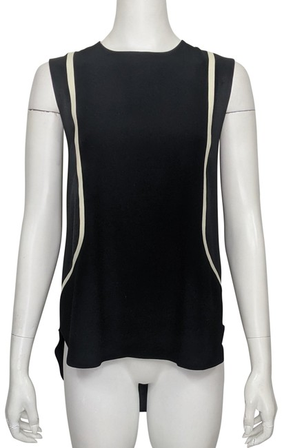 Item - Black Ivory Crepe Contrasting Detail Sleeveless High-low A-line Blouse Size 12 (L)