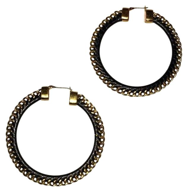 Item - Black & Gold Leather Chain Hoops Earrings