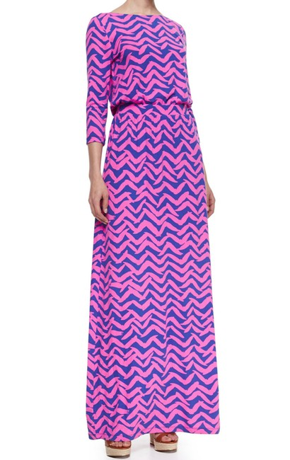 Item - Pink and Blue Long Casual Maxi Dress Size 2 (XS)