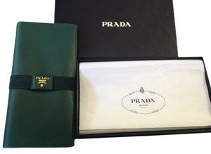 Prada Gold Hardware Leather Emerald Clutch