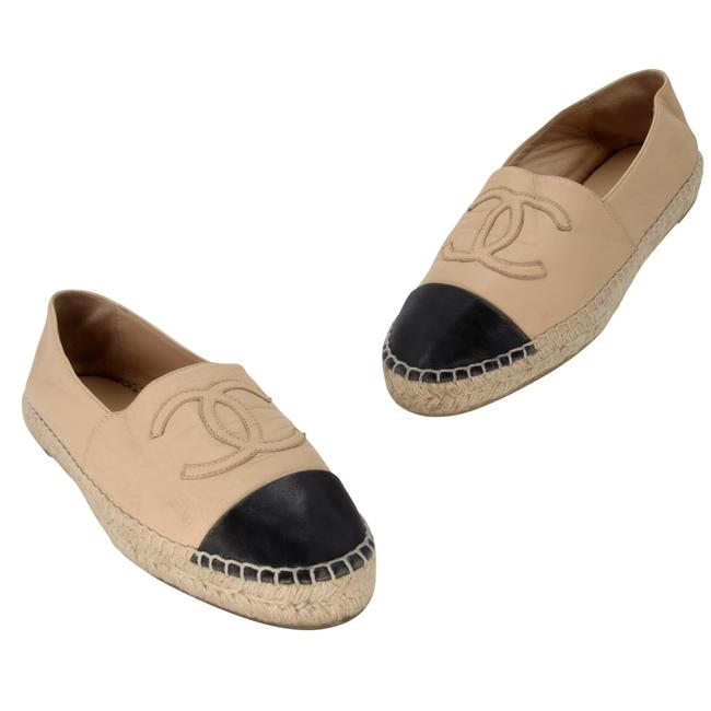 Item - Beige Leather Cap Toe Cc Embroidered Espadrilles 37 Flats Size US 6 Regular (M, B)