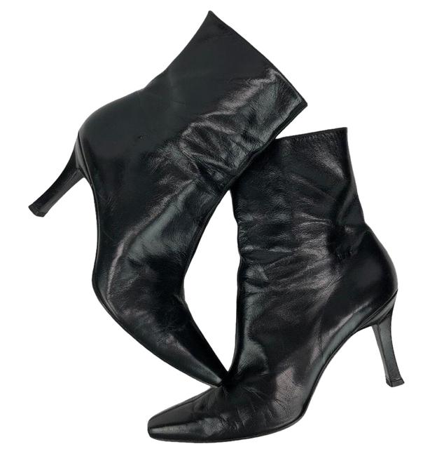Item - Black Leather Heeled Ankle Boots/Booties Size US 8 Regular (M, B)