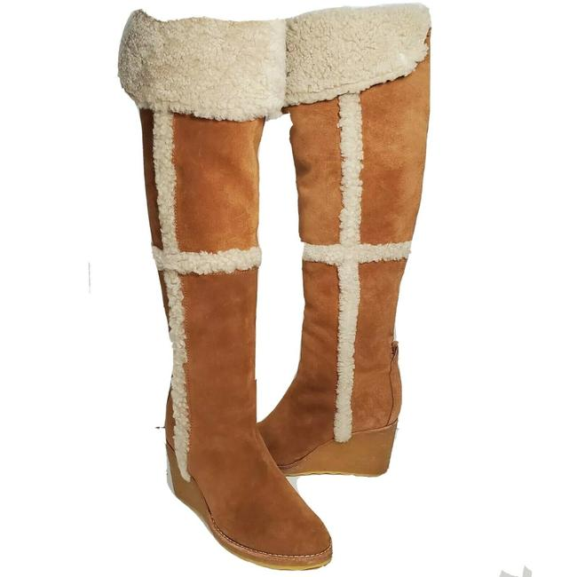 Item - Tan Otk Cassius Suede Shearling Wedge Over The Knee Boots/Booties Size US 7 Regular (M, B)