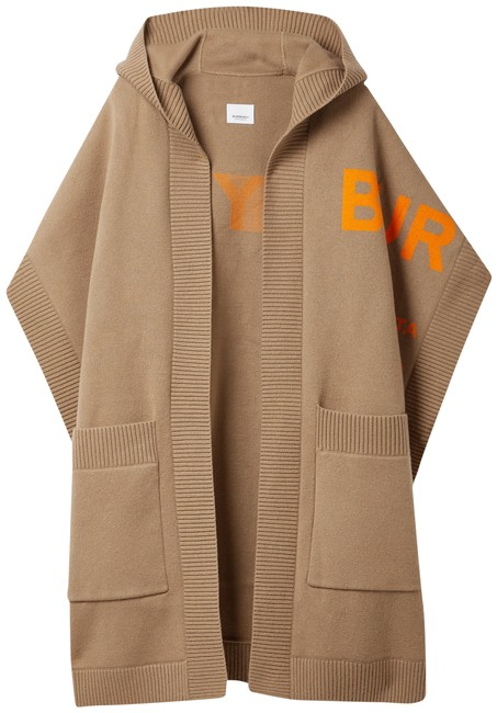 Item - Camel Hooded Jacquard-knit Cashmere-blend Wrap Poncho/Cape Size OS (one size)