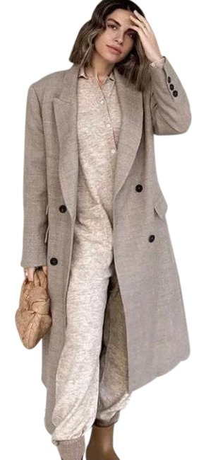 Item - Gray Taupe Masculine Mensy Style Double Breasted Wool Blend Coat Size 2 (XS)