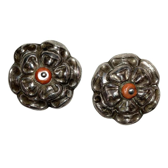 Item - Red Chinese Flower Bud 900 Silver Pins with Coral Bead Accents