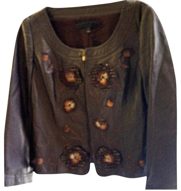 Item - Brown Silk Floral Embroidered Soft Lamb Skin Coat Blazer Top Jacket Size 8 (M)
