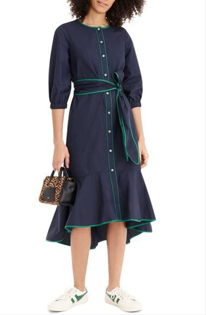 Item - Navy Belted Button-up Mid-length Casual Maxi Dress Size 4 (S)