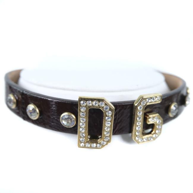 Dolce&Gabbana Brown Rhinestone Collar Leather Ladies Choker Necklace Dolce&Gabbana Brown Rhinestone Collar Leather Ladies Choker Necklace Image 1