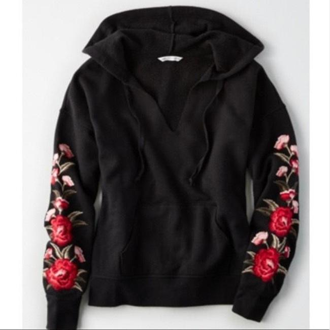 Item - Floral Embroidered Hooded Sweatshirt Black Red Sweater