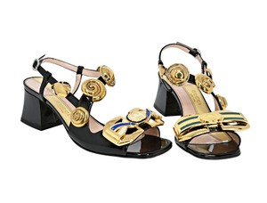 Item - Black 565491 Interlocking G Buckles Patent Leather Mid-heel Sandals