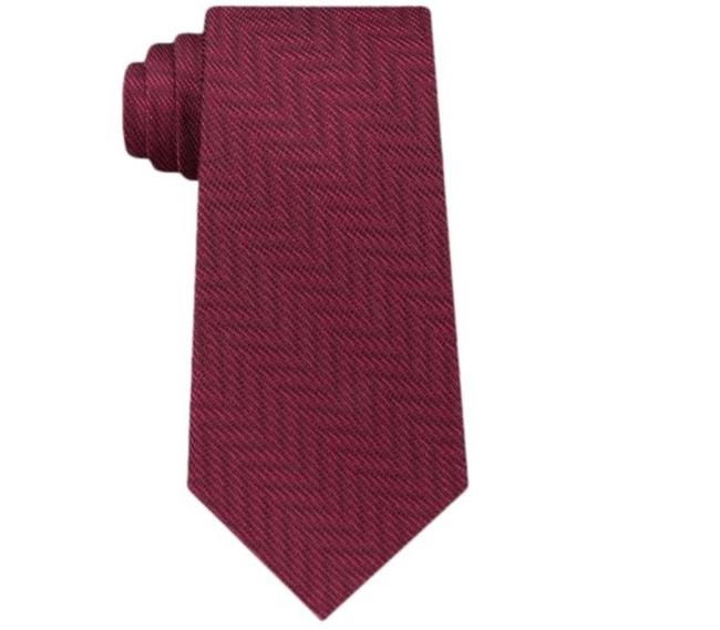 Item - Burgundy Grab This Sleek and Soft Silk Woven Tonal Chevron Tie To Complete Your Ensemble In A Sharp Modern Way