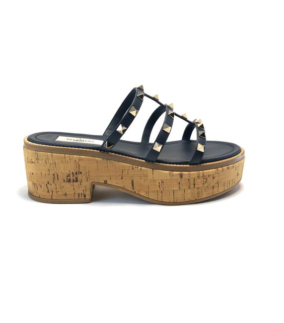 Item - Navy Rockstud Leather Cork Platform Mules/Slides Size EU 38 (Approx. US 8) Regular (M, B)