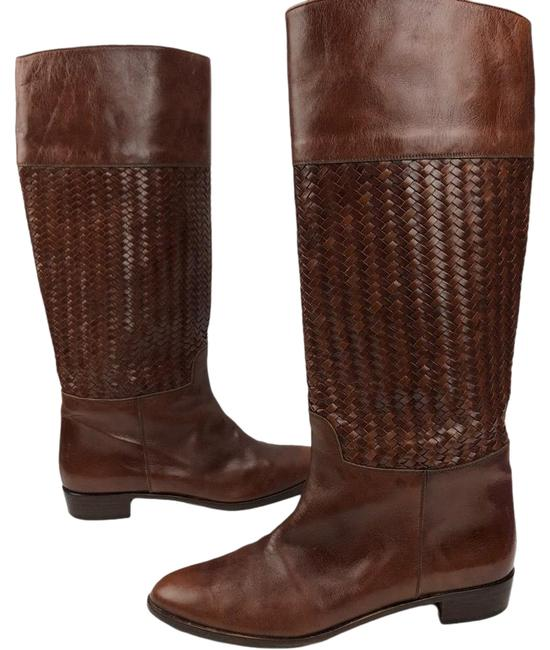Item - Brown Woven Leather Riding Tall Boots/Booties Size US 10.5 Regular (M, B)