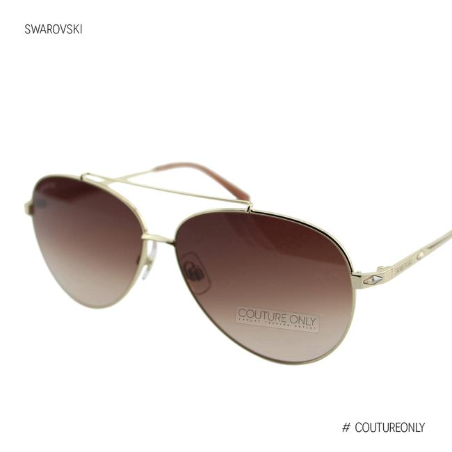Item - Gold Sk0194 32f Brown & Metal Champagne Crystals Aviator Sunglasses