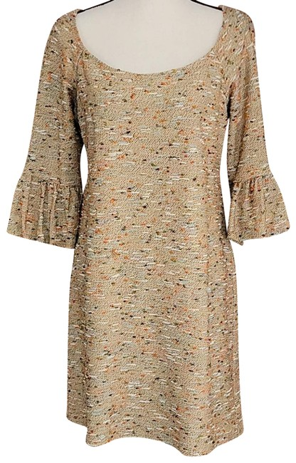 Item - Tan Tweed Shift Short Casual Dress Size 8 (M)
