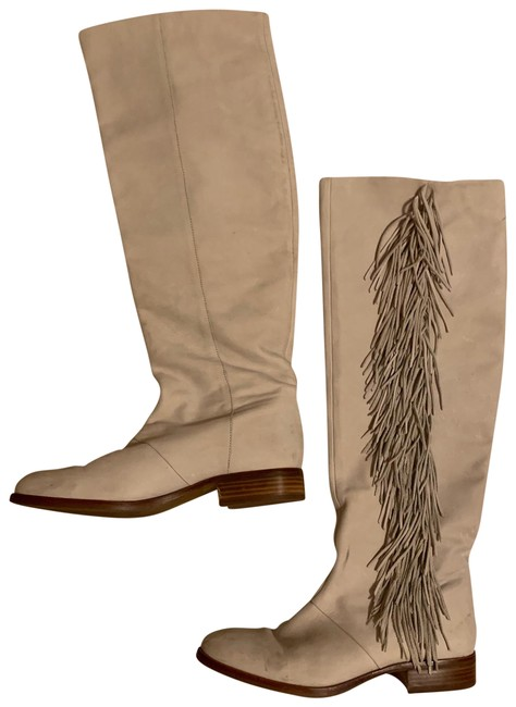Item - White Off Leather Women Fringe Boots/Booties Size US 9 Regular (M, B)