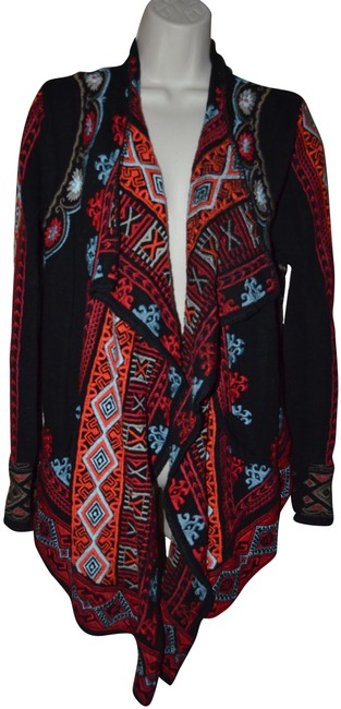 Item - M Johnny Was Embroidereed Open Front Cardigan Black Sweater