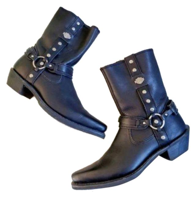 Item - Black Silver Leather Moto Harness Boots/Booties Size US 6 Regular (M, B)