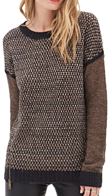 Item - XS Camel Brown Wool Blend Chunky Knit Zipper Sides Relaxed Cre Tan Black Sweater