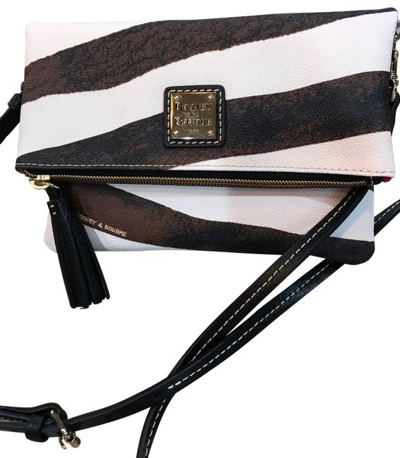 Item - Fold Over Brown. Black and White Leather Cross Body Bag