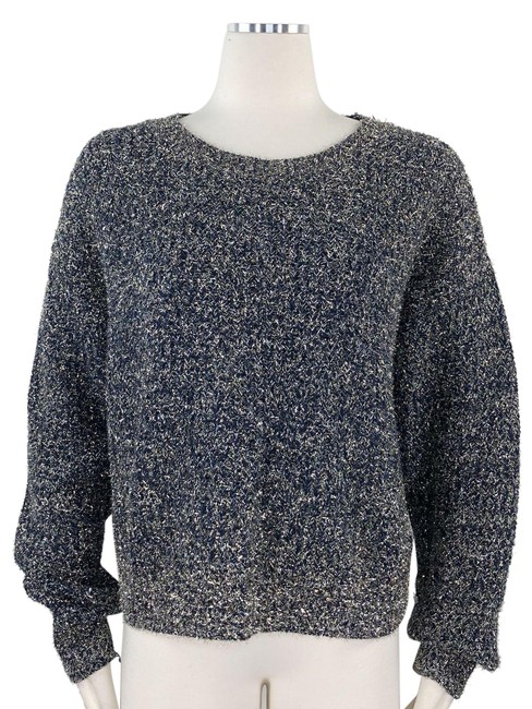 Item - Metallic Eyelash Fuzzy Chunky Knit Relaxed Fit Blue Gold Sweater