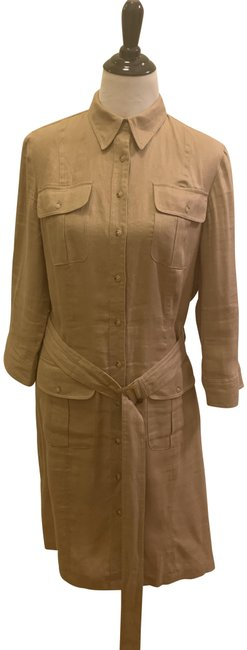 Item - Khaki Linen No Mid-length Work/Office Dress Size 12 (L)