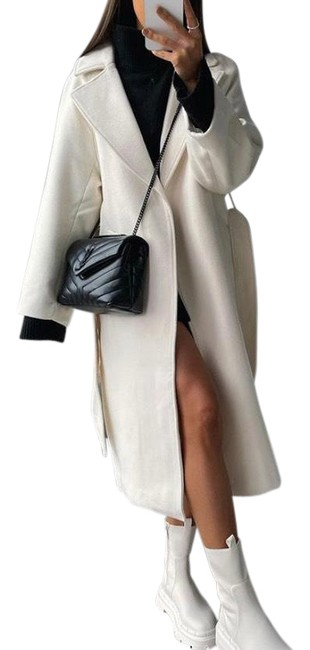 Item - White Wool Blend Tie Belted In Creamy Coat Size 4 (S)