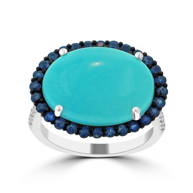 Item - White 7.34 Ct Round Cut Diamond Oval Shape Turquoise Anniversary Ring
