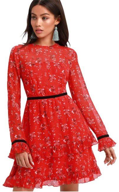 Item - Red Floral To See Print Long Sleeve Short Cocktail Dress Size 4 (S)