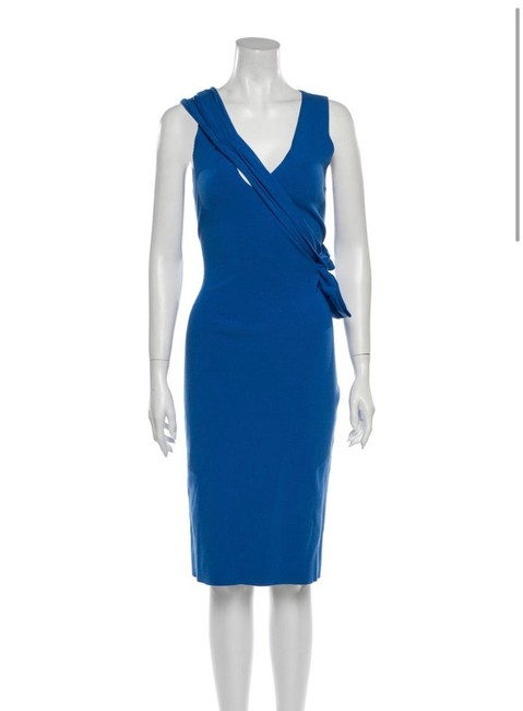 Item - Blue Knit Body with Draping Mid-length Night Out Dress Size 8 (M)