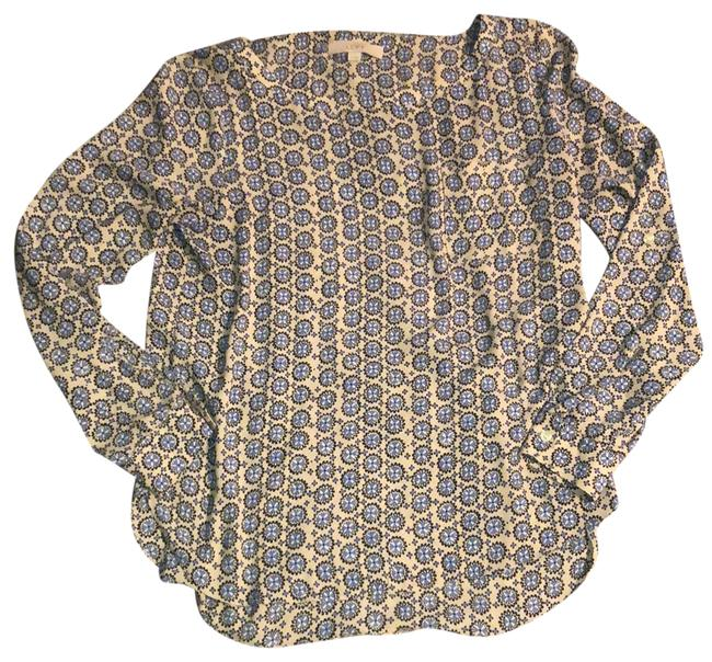 Item - Beige with Blue Black and White Pocket Front Pullover Blouse Size 10 (M)
