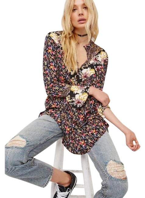 Free People Mustard Black Mini Floral Tunic Size 4 (S) Free People Mustard Black Mini Floral Tunic Size 4 (S) Image 1