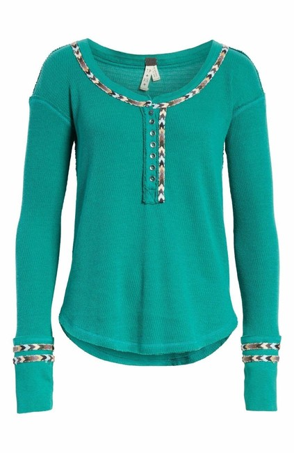 Item - Green Rainbow Embroidered Thermal Blouse Size 2 (XS)