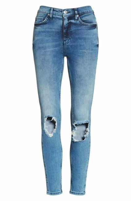 Item - Blue Medium Wash Ripped Knee Denim Skinny Jeans Size 25 (2, XS)