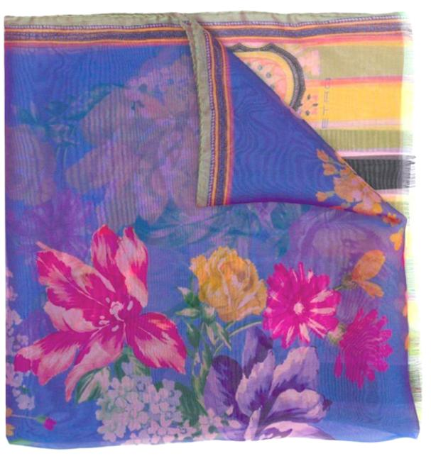 Item - Multicolor Paisley and Floral Iridescent Silk Scarf/Wrap